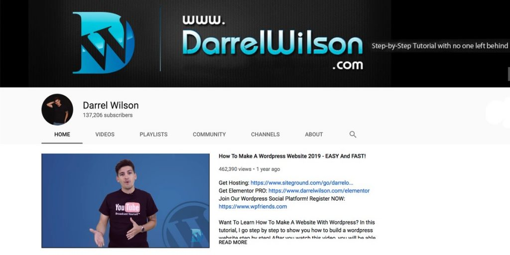 Darrel Wilson YouTube channel for WordPress users