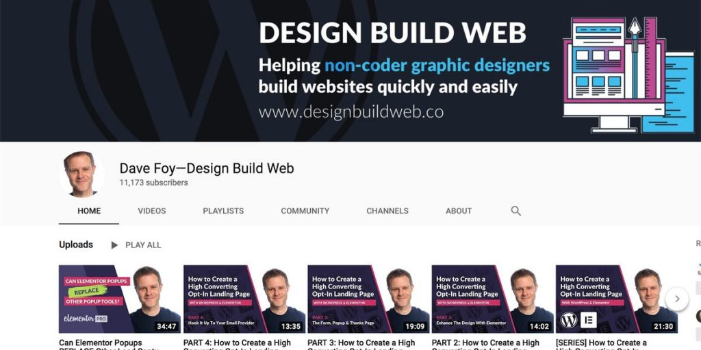 Design Build Web YouTube channel for WordPress users