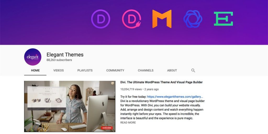 Elegant Themes YouTube channel for WordPress users