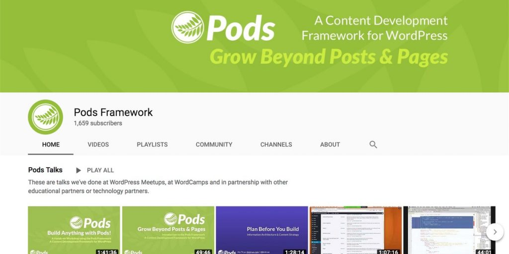 Pods Framework channel for WordPress users