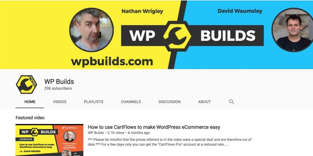 WP Builds YouTube channel for WordPress users