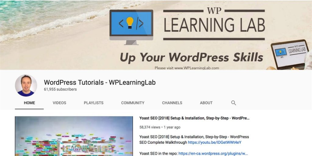 WP Learning Lab YouTube channel for WordPress users